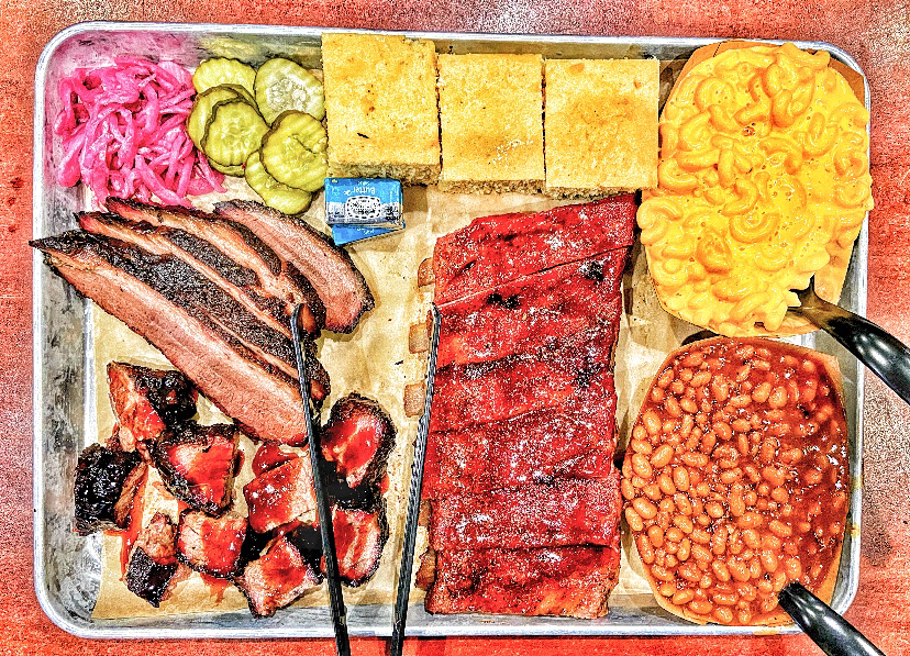pan of Nebraska BBQ and sides